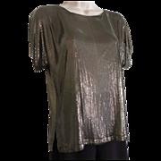 1970's Whiting & Davis Bronze Color Metal Mesh Blouse / Top - Reversible!