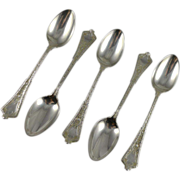 Set of Five Antique Tiffany Sterling Teaspoons Persian Pattern c. 1870