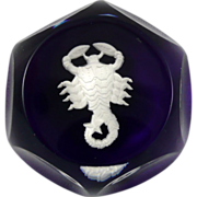 Baccarat Cobalt Blue Sulphide Paperweight - Scorpio