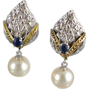 Mid-Century 14K White Gold Cultured Pearl & Sapphire Earrings