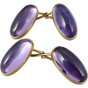 Antique 14K Gold Amethyst Cufflinks
