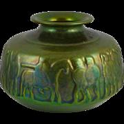 Vintage Zsolnay Pecs Eosin Vase - Warriors