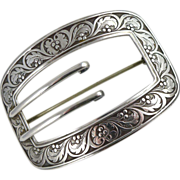 Victorian Sterling Silver Sash Pin / Buckle Brooch by William Kerr Co.