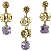 Antique European 14K Gold Amethyst Demi-Parure Earring & Pendant Set