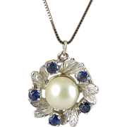 Vintage 14K White Gold, Cultured Pearl & Sapphire Necklace