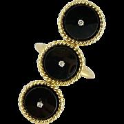 Mid-Century 18K Gold Onyx & Diamond Ring - Italy