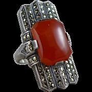 Uncas Art Deco Sterling Silver Marcasite & Carnelian Ring