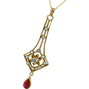 SOLD Art Deco 10K & 14K Gold Diamond & Seed Pearl Lavalier Necklace