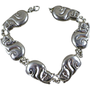 SOLD Vintage Sterling Silver Sleeping Cat Bracelet - 8""