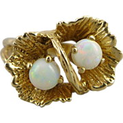 14K Gold Floral Double Opal Ring - Organic Design