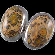 Mid-Century Sterling Leopard Skin Jasper Earrings - Mexico