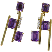 Mid-Century Modern 14K Gold Amethyst & Diamond Earrings