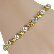 SOLD Vintage 14K Gold Aquamarine Bracelet - Mexico