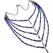 SOLD Vintage Sterling Silver and Lapis Lazuli Multi Strand Necklace