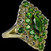 Estate 10K Gold Chrome Diopside Cluster Ring