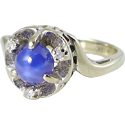 Blue Star Sapphire Ring with Diamonds in 10K White Gold