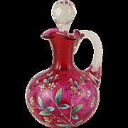 Antique Cranberry Glass Enameled Cruet - Floral
