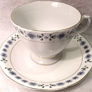 Vintage China Blue and White Floral Tea Cup and Saucer 5 Person Set with 24K Gold Accents