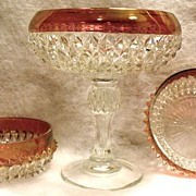 Vintage Indiana Crystal Clear Diamond Point Compote and Matching Candy Dishes with Ruby Flash c1966