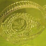 Vintage Cut Glass Basket with Bird Design