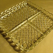Vintage Clear Pressed Glass 3 Compartment Candy Condiment Dish