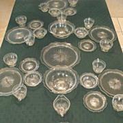 Jeannette Sunburst and Herringbone Depression 6 Person Crystal Dining Set