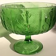 Vintage Green Pressed Glass Leaf Pattern Compote