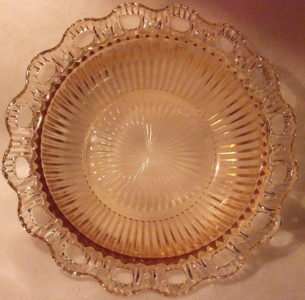 Vintage Pink Pressed Glass Serving Bowl