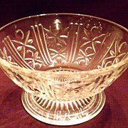 Vintage Clear Pressed Glass Footed Dessert Dish