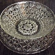 Vintage Clear Pressed Glass Punch Bowl and Cake Plate