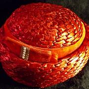 Vintage Darcel Exclusive Red Women's Woven Straw Hat