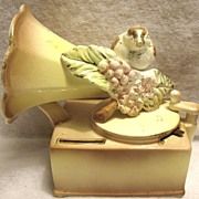 Vintage Lipper & Mann Creations Porcelain Phonograph / Bird Bank Music Box with 24K Gold ...