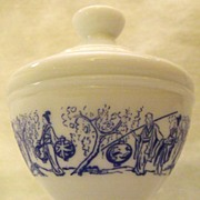 Vintage White Porcelain with Blue Oriental Character Decorative Jar Made in Belgium