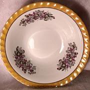 Vintage Yamatsu Bowls with Fluted Golden Lustreware Edge and Violet Flower Decor Made in Japan