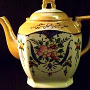 Vintage Hand Painted Mother of Pearl Porcelain Floral Tea Pot Made in Japan