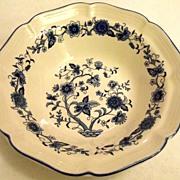 Vintage Blue and White Floral Porcelain Bowl Made in Korea