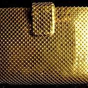 Vintage Whiting & Davis, Co. Gold Tone Mesh Wallet Made in U.S.A.