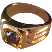 SALE Fabulous Simulated Amethyst ~ Gold Plate Ring ~ Size 7 3/4