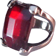 SALE Massive Simulated Rectangle Ruby Red July Birthstone~Ring ~ Size 6 1/2