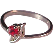 Simulated Ruby Red Rhinestone~STERLING~Birthstone Ring (July) Size 6 1/4