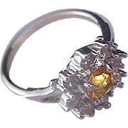 Simulated Honey Amber & Pave Diamante Silver Plate Ring ~ Size 7