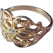 SALE Diamante~Gilt Gold Filigree Gold Plate Ring~by AVON~Size 7 1/4