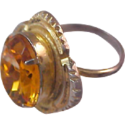 SALE HONEY AMBER Oval Faceted Glass Stone~Gold Plate Ring ~ Size 1/2 Adjustable