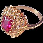 SALE Glamorous Simulated Emerald Cut RUBELITE Stone~ Diamante 14K  Gold Plate Ring~Sz 7 1/2