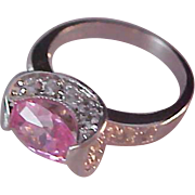 Simulated Pink Sapphire Oval!Diamante!Silver Plate Setting ~ RING ~ Size 7