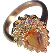 SALE Dramatic Simulated Pear Cut HONEY AMBER 18K Gold Fill  Ring~Size 6 1/2