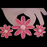 SALE Summer Rose & Baby Pink Enamel~All Metal DAISY Brooch & Earring Suite