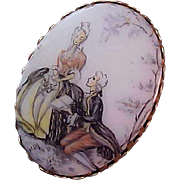 SALE Victorian Style~COURTING SCENE~ Hand Painted Glass Oval Brooch