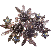 SALE Lavish & Unique ~Heliotrope Stones~Navettes~Carved Black & White Stones  Brooch