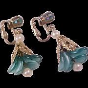 SALE LAVISH Celluloid TEAL Petals~Simulated Pearls ~Rhinestones Dangle Earrings